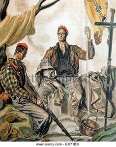 Two Carlist soldiers illustration by the Nationalist Spanish civil war artist, Carlos Sáenz de Tejada