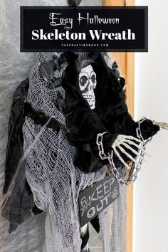 This super creepy Halloween Skeleton Wreath is one fun and easy project to decorate your front door this year. The best part, No glue needed to create this halloween skeleton wreath, just lots of pins. #hallween #hallweencrafts #hallweentreat #halloweennight #halloweencraft #halloweendiy #halloweengifts #upcyclingcraft #upcyclingprojects #halloweenwreath #skeletonwreath Creepy Halloween, Halloween Skeletons, Halloween Gifts, Halloween Night, Upcycled Crafts, Easy Projects, Wreaths, Crafty, Creative