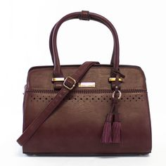 Ava Peforated Fringe Structured Satchel   Handbag Heaven   Discount Handbags & Purses