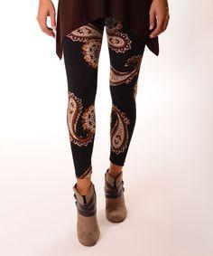 Black & Dark Brown Paisley Leggings - Plus