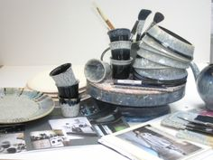 A special photo showing some of the behind-the-scenes work that goes into the development of our ranges. Before its launch in we held a competition in our Derbyshire factory to decide the name for this speckle design, and the winner was. Denby Pottery, Derbyshire, Ranges, Icon Design, Mud, Collaboration, Halo, Competition, Hold On