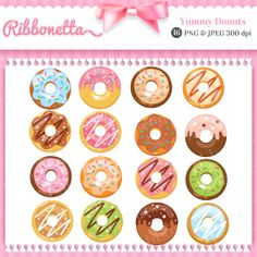 Donuts Cute Kawaii Clipart for Card Design by Ribbonetta on Etsy, $5.00