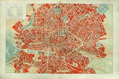 1900 map of BRUSSELS, BELGIUM.