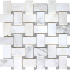 Gray stone mosaic basket weave tile. For the future bathroom!