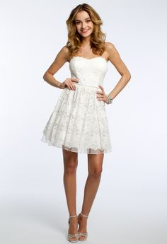 Strapless Lace Dress with Sweetheart Neckline #camillelavie