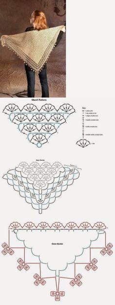 Mooie omslagdoek haken met diagrammen