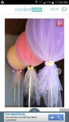 Tulle and balloon inexpensive decor