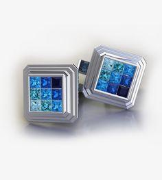 Princess cut blue sapphire, topaz passion glacier blue, topaz Swiss blue, topaz passion teal and aquamarine cufflinks in platinum