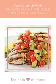 Cilantro-Lime Chicken with Avocado Salsa-A three-minute dip into a pungent cilantro-lime marinade is all that's needed to deliver big flavor to chicken breasts. Serve with saffron rice.