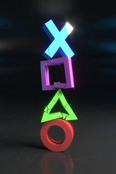 "Crumbling Gamer Symbols - Gamer Print - Design 18 - 18"" x 24"""
