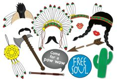 American Indian Photo Booth Party Props Set 15 by TheQuirkyQuail