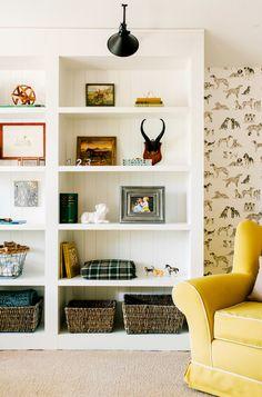 bookcase styling, light