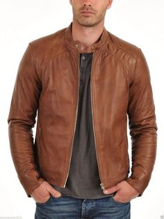 Men's New Designer Motorcycle Biker Tan Brown Genuine Lambskin Leather Jacket #Handmade #BasicJacket