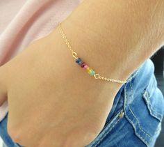 Chakra du bracelet, bracelet de pierres précieuses, véritable Emeraude, rubis, saphir bracelet, bracelet demoiselle d'honneur de remplissage or, argent Sterling, remplissage de l'Or Rose