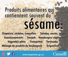 Si vous êtes allergique au sésame, ou connaissez quelqu'un qui l'est, lisez bien l'étiquette de ces aliments. Tempeh, Les Allergies, Sesame, Baked Goods, Food Items, Vegetarian Burger Patties, Dressing, Vegetable Dips, Food