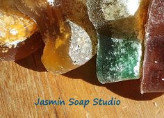 A hand crumpled coco salt soap bar mixed with MP and scent and colour. Recycling the Soap.