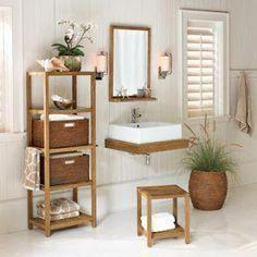 teak bathroom storage étagère with baskets Teak Bathroom, Bathroom Cupboards, Bathroom Interior, Small Bathroom Colors, Small Bathrooms, Cabinet Parts, Glass Countertops, Beautiful Bathrooms, Bathroom Storage