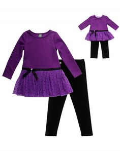 e54de0251a04a Plum Tulle - Legging Set With Matching Outfit For 18 Inch Play Doll  American Girl,
