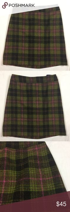 """Boden pink green plaid wool skirt 10 Gently used. 100% wool. Lined. Back zipper. 14"""" across waist. 19"""" long. Boden Skirts A-Line or Full"""