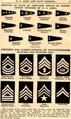 United States Army Commissioned Officers Shoulder Straps  Noncommissioned Officers & Enlisted Men Chevrons & Sleeve insignia & Collar Brass