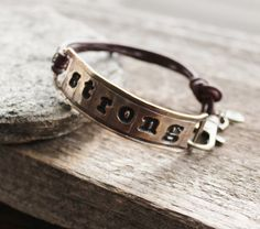 Personalized+Bronze+and+Leather+unisex+by+2sistershandcrafted,+$84.00
