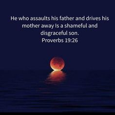 Proverbs He who assaults his father and drives his mother away Is a shameful and disgraceful son. Proverbs 19, Niv Bible, New American Standard Bible, Father, Outdoor, Pai, Outdoors, Outdoor Games, The Great Outdoors