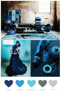 This color palette is dramatic, rich and moody. It's also completely sophisticated pairing deep indigo blues with shades of brighter blue, aquamarine and touches of warm gray. I love this palette because it's bold and a bit unexpected, yet somehow still feels classic and timeless.