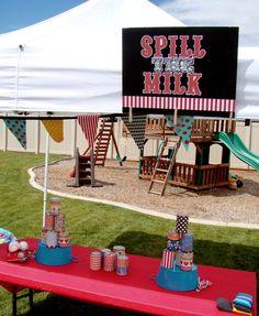"""""""Spill the Milk"""" beanbag toss game"""