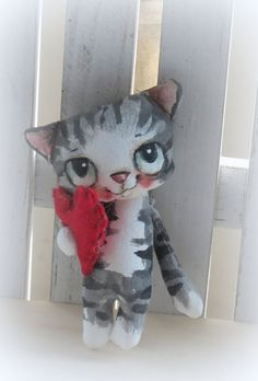 Hand painted hand made kitty cat doll with heart от suziehayward