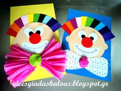 Clowns for circus week :-) Circus Theme Crafts, Clown Crafts, Carnival Themed Party, Carnival Crafts Kids, Easy Crafts For Kids, Summer Crafts, Art For Kids, Theme Carnaval, Arts And Crafts