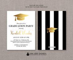 Black & White Stripe Graduation Invitation by digibuddhaPaperie