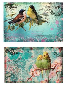 Journal Pages, Junk Journal, Journals, Printable Postcards, Vintage Birds, Vintage Shabby Chic, Embellishments, Digital, Painting