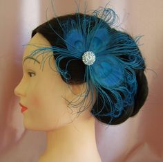 Peacock Feather Wedding Accessories  Something Blue by All4Brides, $35.00
