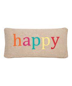 Look at this #zulilyfind! Happy Burlap Throw Pillow #zulilyfinds