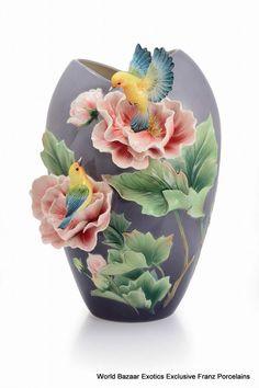 FZ02941 Blue winged cotton rose L Vase Franz Porcelain exclusive (LE 999)