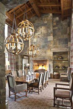 Dining Room. Amazing stone work, ceiling and lighting. <3 www.findinghomesinhenderson.com. Keller Williams Las Vegas & Henderson, NV.