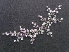 Crystal hair vine Purple hair vine Pink hairpiece Bridal