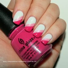 white, light & dark pink nails