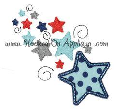 Falling stars applique design