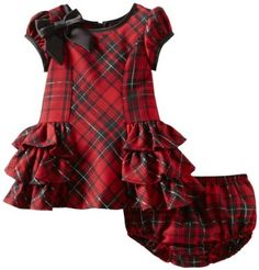 Amazon.com: Bonnie Baby-Girls Infant Polyrayon Side Ruffle Dress, Red, 18 Months: Clothing
