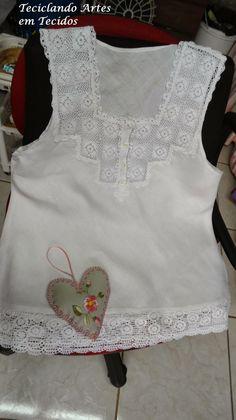 Teciclando Artes em Tecidos: Maneira fácil de aplicar pala de crochê em blusas....