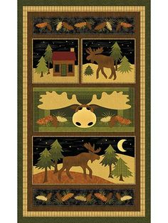 This charming panel is rustic and homey -- the perfect panel to decorate your home and keep it cozy all year-round. It features a sweet moose wandering around a serene countryside and a log cabin in rich browns and lush greens. Full panel measures 24...
