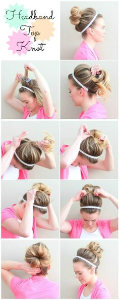 My Soul is the Sky: Headband Top Knot(: quick and easy! Nurse Hairstyles, Work Hairstyles, Pretty Hairstyles, Unique Hairstyles, Top Knot, Knot Bun, Chignon Headband, Diy Headband, My Hairstyle