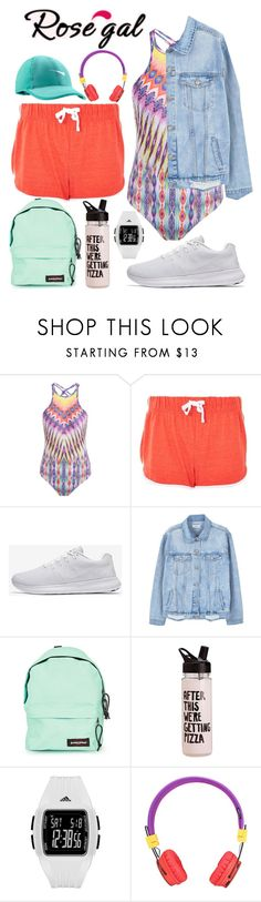 """Jogging By The Beach - Casual Sporty Look"" by rita8100 ❤ liked on Polyvore featuring Topshop, NIKE, MANGO, Eastpak, ban.do and adidas"
