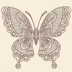 Henna Mehndi Tattoo Butterfly Doodle Royalty Free Stock Vector Art Illustration