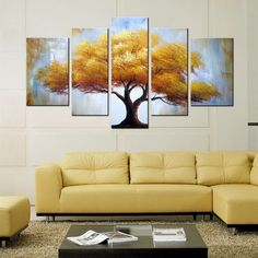 Yellow Tree Canvas Oil Painting | 5 Panel | 1320