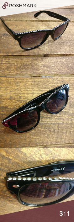 Black Rhinestone Sunglasses Festival season, spring, summer, peace, love and sunshine! It's right around the corner and you'll definitely need these statement shades!  Plastic sunglasses Rhinestones along the top give a very subtle but unique look Black  100% UV protection CLE Threads Accessories Sunglasses