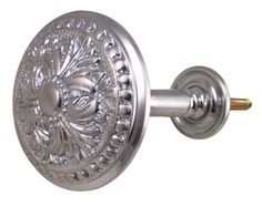 Solid Brass Curtain Tie Back - Large Baroque Button Style (Brushed Nickel)