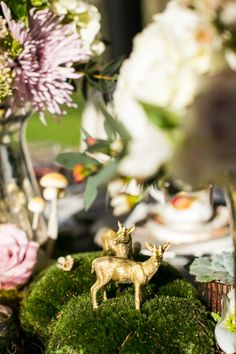 Gold Spray painted stags - Image by Anneli Marinovich - A Romantic And Whimsical Bridal Inspiration Shoot With Johanna Hehir Gowns And Victoria Millesime Accessories With Stationery By Artcadia And Flowers By Boutique Blooms