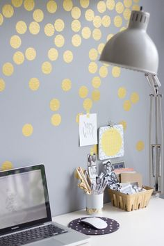 Dorm inspiration. This gold confetti wall is such a clever and easy way to update and lighten a forgotten space.